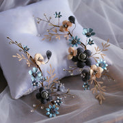 Himalayan Blue Poppy Bridal Wedding Hairband - Joy of London Jewels