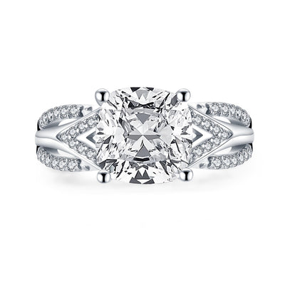 A Flawless 18K White Gold 2.75CT Cushion Cut Belgium Lab Diamond Engagement Ring - Joy of London Jewels