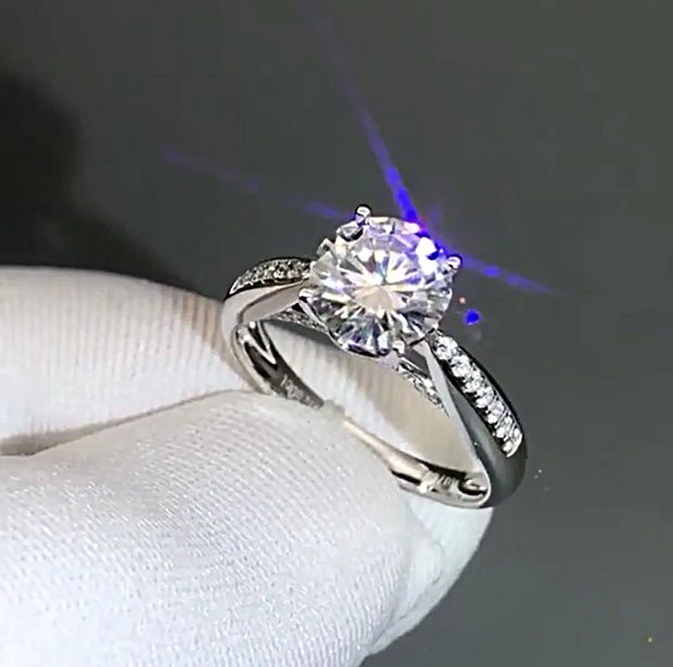14K White Gold 3CT Round Brilliant Cut Moissanite Diamond Engagement Ring