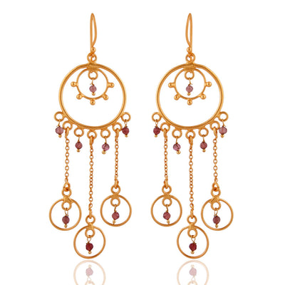 Handmade 14K Yellow Gold 3TCW Pink Tourmaline Dangle Earring