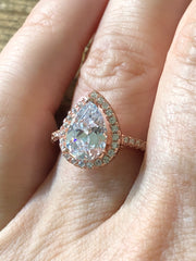 A Flawless Rose Gold 2CT Pear Belgium Lab Diamond Engagement Ring - Joy of London Jewels