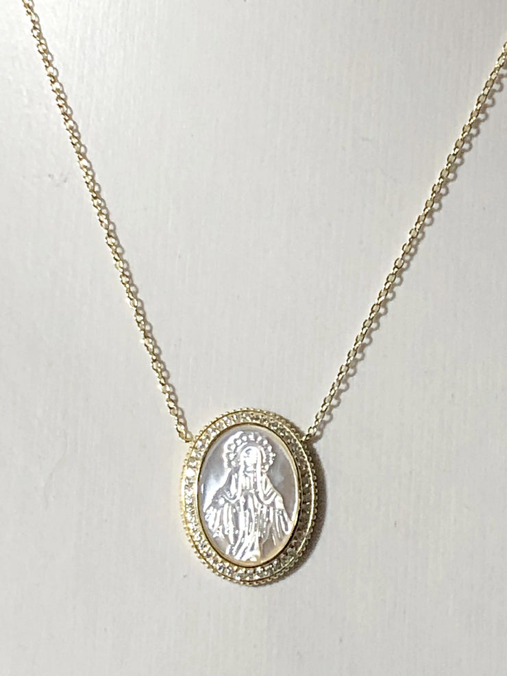 SALE  18K Yellow Gold Handcarved Mother of Pearl Patron Saint Pendant Necklace - Joy of London Jewels