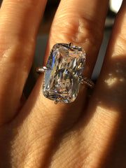 A Flawless 8.6CT Elongated Cushion Cut Solitare Belgium Lab Diamond Engagement Ring