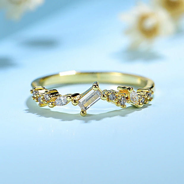 10K Yellow Gold Moissanite Diamond Ring