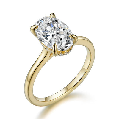 10K Yellow Gold 3CT Oval Cut Moissanite Diamond Solitaire Engagement Ring - Joy of London Jewels