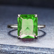 A 6CT Emerald Created Diaspore Solitaire Engagement Ring (color changing) - Joy of London Jewels