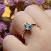 14K White Gold Alexandrite Lab Engagement Ring - Joy of London Jewels