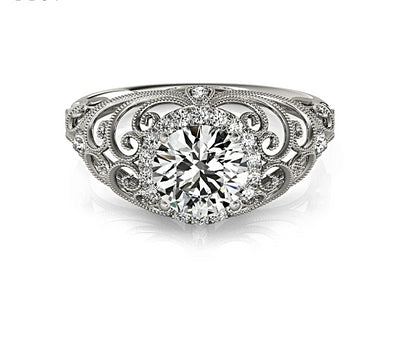 A Italian Scroll 1CT Round Cut Halo Belgium Lab Diamond Engagement Ring - Joy of London Jewels