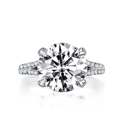 A Flawless 14K White Gold 5CT Round Cut Belgium Lab Diamond Engagement Ring - Joy of London Jewels