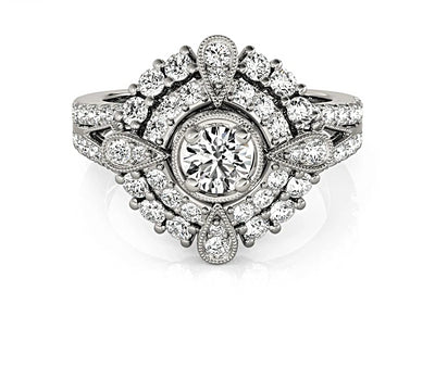 An Art Deco Round Cut Halo Belgium Lab Diamond Bridal Set - Joy of London Jewels