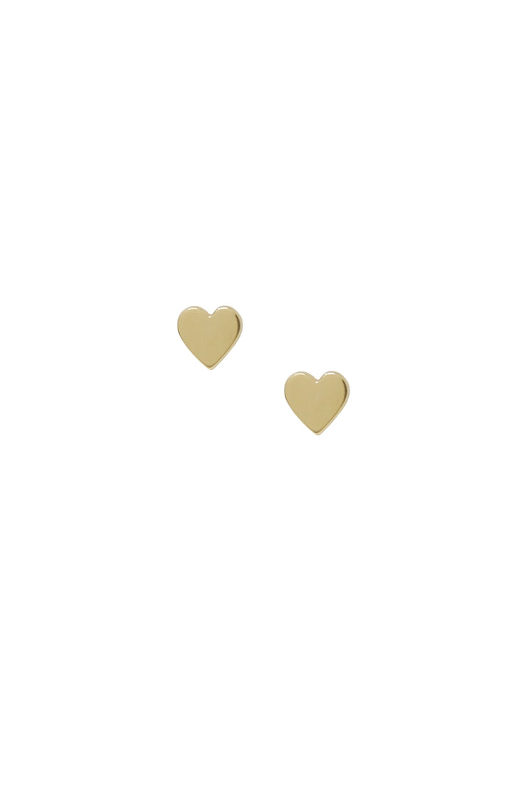 Heart Stud Earrings in 14k Solid Gold - Joy of London Jewels
