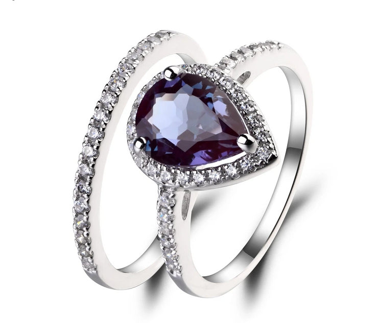 2.71CT Emerald Cut Lab Alexandrite Engagement Ring - Joy of London Jewels