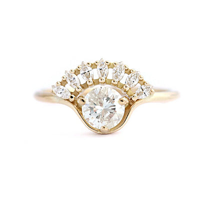 14K Yellow Gold Round & Marquise Cut Moissanite Bridal Set - Joy of London Jewels