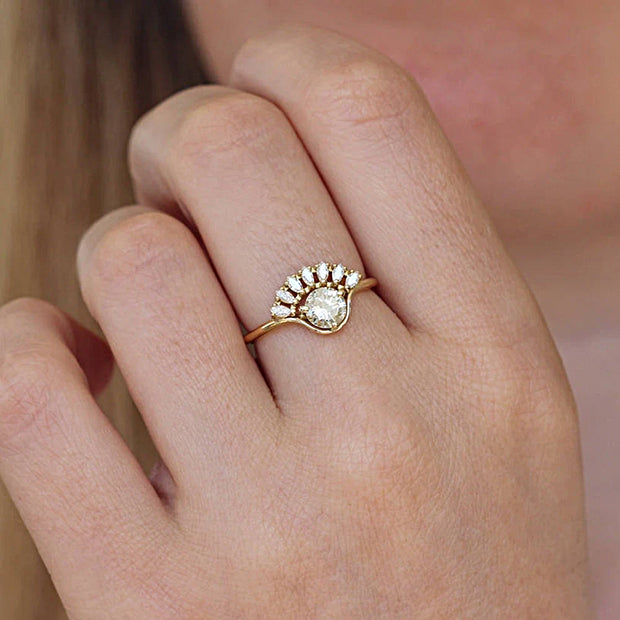 14K Yellow Gold Round & Marquise Cut Moissanite Bridal Set