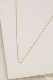 18K Yellow Gold Natural Opal Lariat Necklace