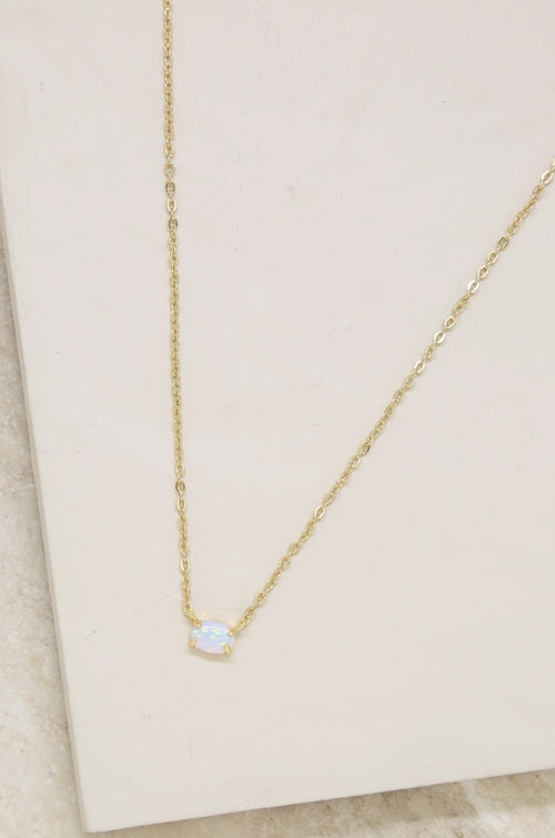 18K Yellow Gold Natural Opal Lariat Necklace - Joy of London Jewels