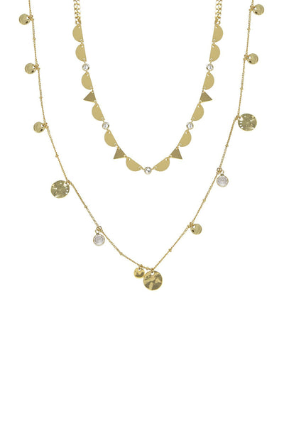 18k Yellow Gold Coin Layered Necklace