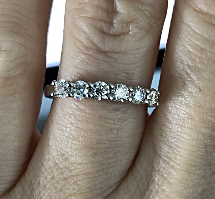 A Round Cut Moissanite Half Eternity Wedding Band Ring - Joy of London Jewels