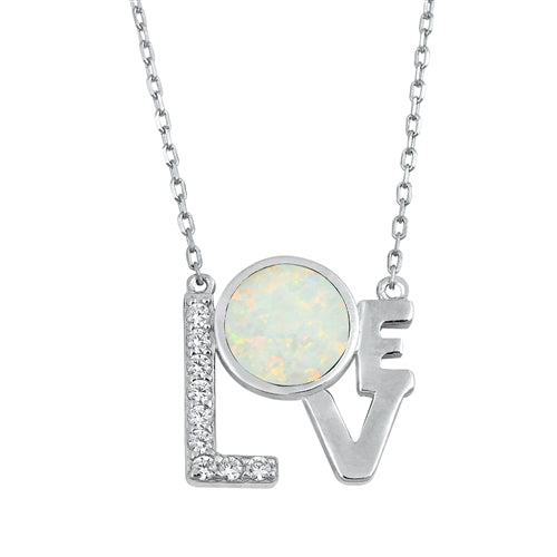 Natural White or Blue Opal Love Pendant Necklace