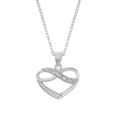 "Italian Sterling Silver Love ""To The Moon & Back"" Heart Pendant Necklace"