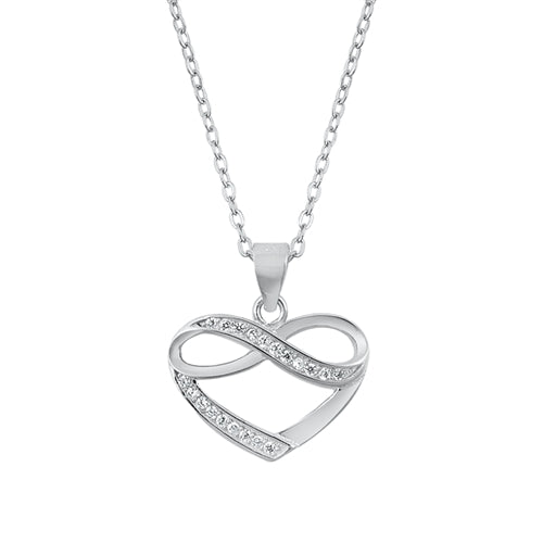 "Italian Sterling Silver Love ""To The Moon & Back"" Heart Pendant Necklace - Joy of London Jewels"