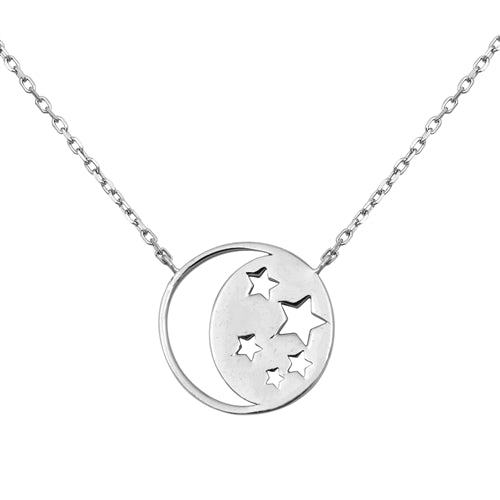 "Italian Sterling Silver Love ""To The Moon & Back"" Pendant Necklace - Joy of London Jewels"