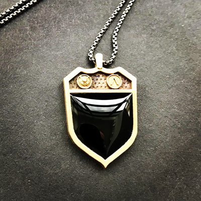 Men's Shield Signet Black Onyx Necklace - Joy of London Jewels