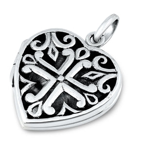 An Oxidized 925 Sterling Silver Heart Cross Locket Pendant Necklace - Joy of London Jewels