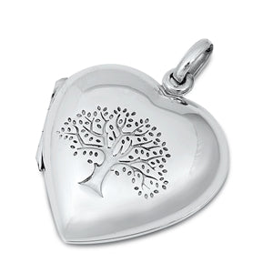 925 Sterling Silver Heart Tree of Life Locket Pendant Necklace