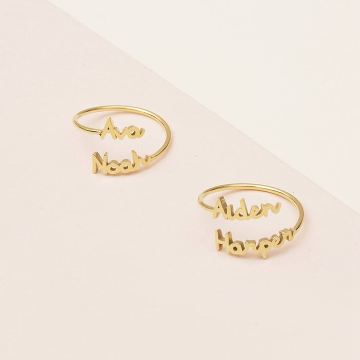 Personalized Adjustable Two Name Couple Rings - Joy of London Jewels