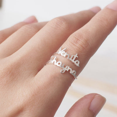 Personalized Adjustable Two Name Couple Rings