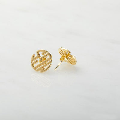 Personalized Round Monogram Stud Earrings - Joy of London Jewels