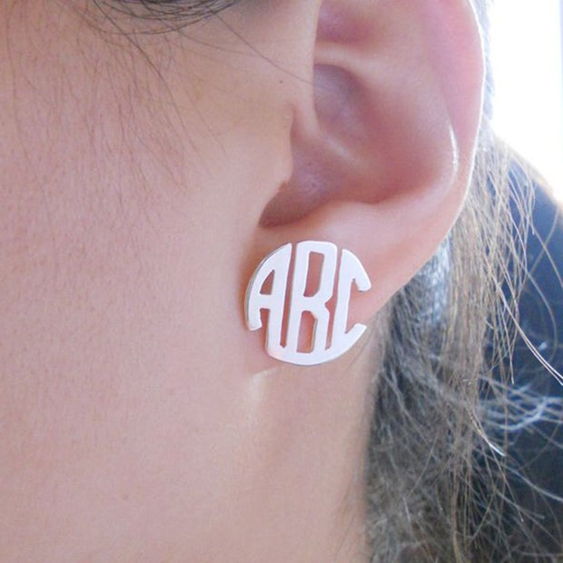 Personalized Round Monogram Stud Earrings