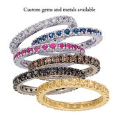 14K White Gold 2mm Natural Red Ruby Full Eternity Stacking Ring - Joy of London Jewels