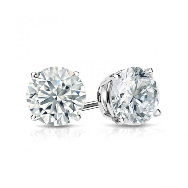 14K White Gold 6.5mm Moissanite Round Brilliant Cut Stud Screw Back Earrings - Joy of London Jewels