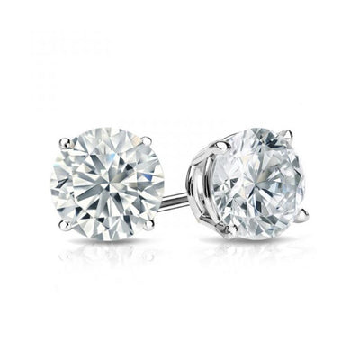 14K White Gold 5mm Moissanite Round Brilliant Cut Stud Screw Back Earrings - Joy of London Jewels