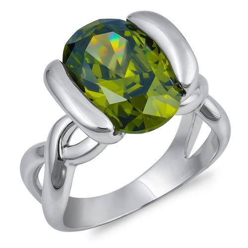 Celtic 2CT Oval Cut Green Peridot Engagement Ring