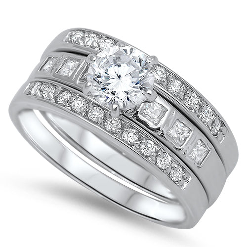 A Perfect 1CT Round Cut Russian Lab Diamond Stacking Bridal Set
