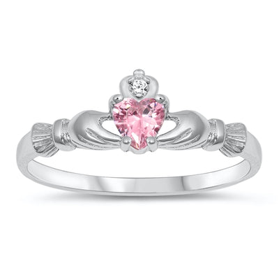 Celtic Irish Claddagh Heart Natural Pink Sapphire Baby Ring