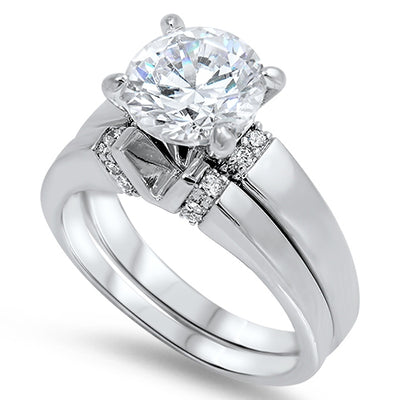 A Perfect 3CT Round Cut Travel Bridal Set Wedding Band Ring