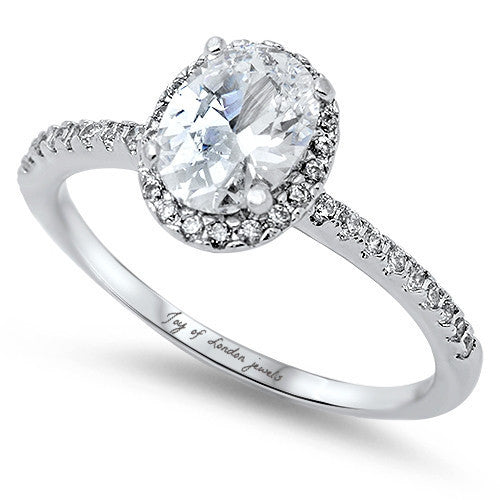 A Classic 1.3CT Oval Cut Russian Lab Diamond Halo Engagement Ring - Joy of London Jewels