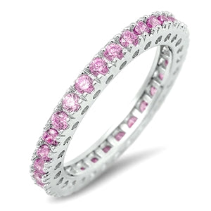 Princess Layla, A Round Brilliant Cut CZ Pink Sapphire Full Eternity Ring