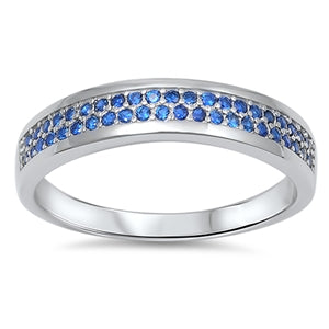 SALE  .98CT Cushion Cut Blue Sapphire Eternity Ring - Joy of London Jewels