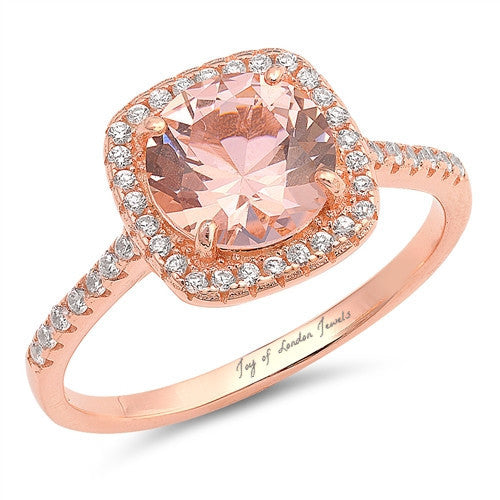 14K Rose Gold 3.2CT Round Cut Pink Morganite Russian Lab Diamond Halo Ring - Joy of London Jewels