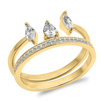 A Perfect 14K Yellow Gold 1CT Pear Cut Russian Lab Diamond Bridal Set Wedding Band Ring