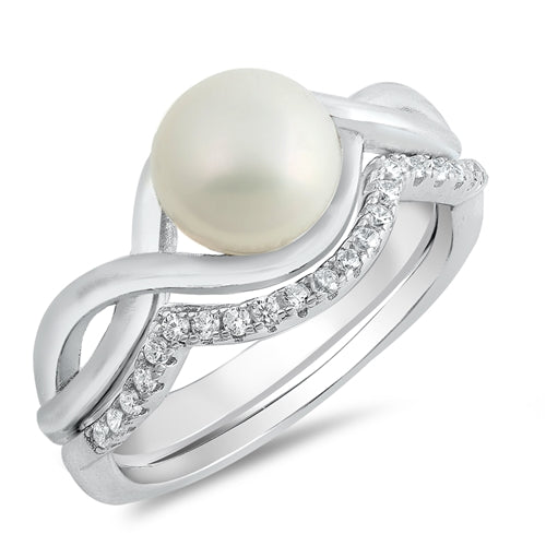 A Natural 8mm Freshwater Pearl 1.23TCW Infinity Travel Bridal Set - Joy of London Jewels