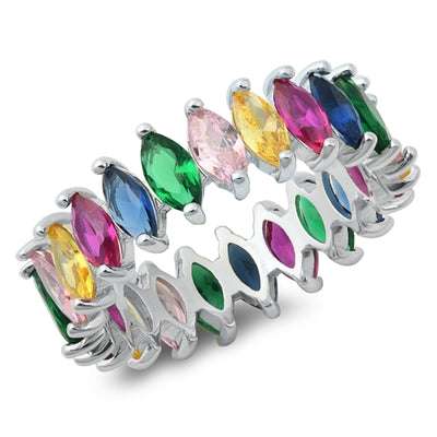 A Perfect Multi Color Marquise Cut 5A Grade Cubic Zirconia Eternity Band