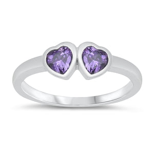 Two Hearts Natural Purple Amethyst Baby Ring