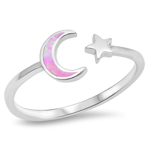 A Perfect Australian Pink Moon and Star Opal Ring