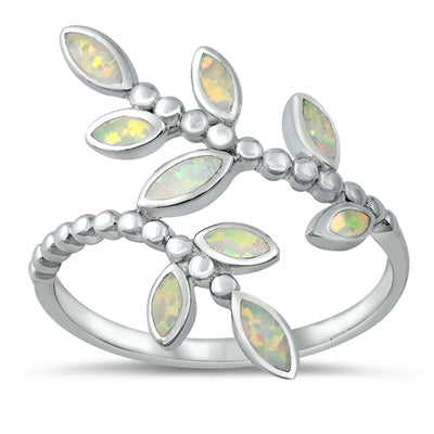 Spring Leaves Lab Opal Promise Ring - Joy of London Jewels